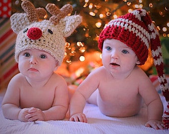 Baby Hat Set  - Baby Hats - Elf Hat - Reindeer Hat - Christmas Hat Twin Set - Baby Elf Hat - Baby Reindeer Hat -by JoJosBootique