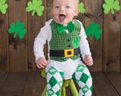 St. Patrick's Day Leprechaun Tuxedo Bodysuit with Matching Bow Tie