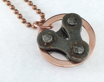Copper circle and bicycle chain bike jewelry, bicycle necklace, bicycle part pendant, mountain bike jewelry, bike gifts