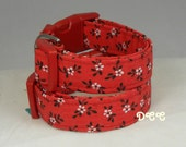 Dog Collar Classic Red with Beautiful White Flowers Black Leaves Adjustable with D Ring Choose Size Accessories Accessory Pet Collars Pets
