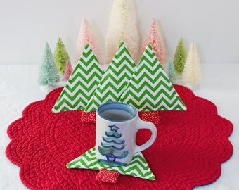 Fabric Coasters Christmas Tree Chevron Print Quilted Mug Rugs Trees Set of 4  Christmas Decor