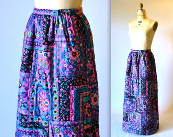 70s Vintage Boho Hippy Printed Skirt Qulited Maxi Skirt with Psychedelic Print// 70s Long Quilted Skirt Boho Folklore Print Medium PInk Blue