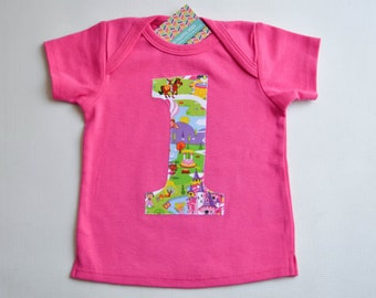 Ready to Ship Girls First Birthday Shirt 12-18m Pink Lap Tee 1st Birthday Tshirt Princess Castle Kingdom Party Cake Smash Number One 1
