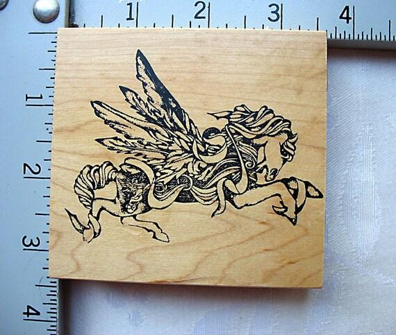 Stampinks Unlimited RARE Flying Winged Horse Pegasus DESTASH