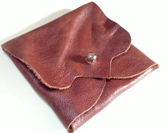 Chestnut Brown Leather Earphone or Earbud Pouch or Just a Cute Pouch. Silver Coloured Rivet Closure. Eco Friendly. Slightly Shiny.