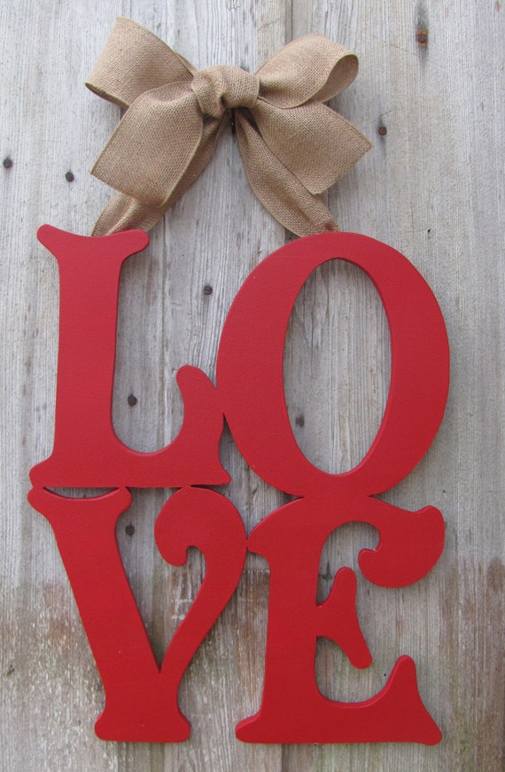Love valentine 39 s day door decor wooden letter by for S letter decoration