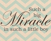 8x10 big miracle little boy Nursery Print 5 colors included