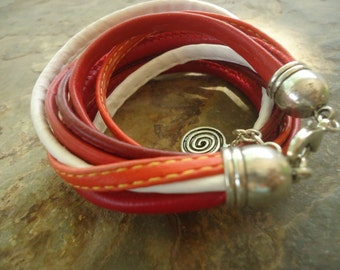 MIX in RED ORANGE white -  wrap bracelet (741)