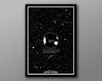 Astronautics: Future Science Icon Series // Greyscale Plantes, Exploration, Stars, Space, and Astronomy Art Print
