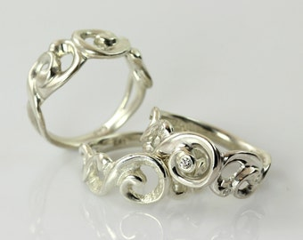 Lace ring - airy ring of silver/gold