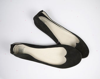 Ballet Flats Shoes in Black Leather Love Handmade Ballerinas