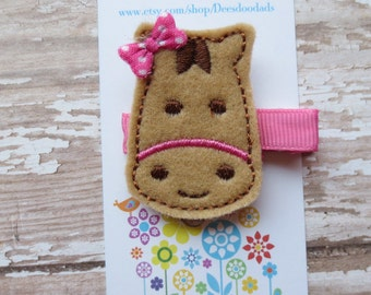Horace the Horse Felt Embroidered Hair Clip