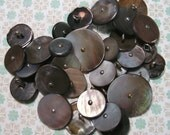 32 Vintage Grey Mother of Pearl Buttons with Metal Shanks Various Sizes