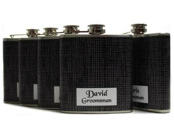 Personalized Groomsmen Gift // 6oz Personalized Flasks for Groomsmen // Black & White Weave // Set of 5