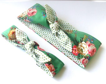 Rockabilly Mommy and Me Matching Green with Large Flowers Head Scarfs Pinup Women Baby Headband Hair Accessory