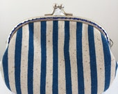 Free Shipping - Handmade Coin Purse in Blue Striped