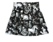 Freak of Nature Print Skater Skirt in Black