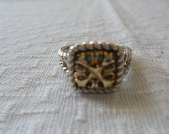 Vintage 10K Gold Sterling Silver Ring Size 7