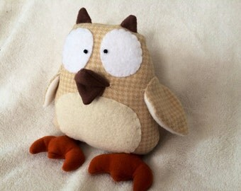 Owl Stuffed Animal- Cream & Tan