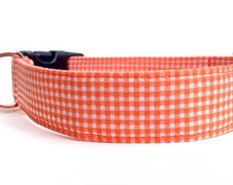 Orange Gingham Dog Collar / Orange Plaid Dog Collar / Orange Dog Collar / Plaid Dog Collar / Gingham Dog Collar