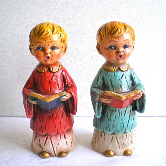 Vintage Ceramic Christmas Carolers Choir Boy And Girl: Christmas Choir Boys Home Decor Vintage By Vintagedottirose