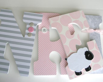 Custom Decorated Wooden Letters - Light Pink and Gray - Baby Name Letter Set