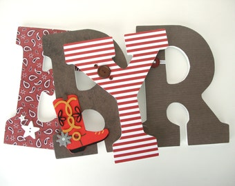 Red & Brown Custom Wooden Letters Nursery Name Décor, Baby Boy Bedroom, Hanging Wood Wall Decorations, Baby Shower Gift