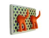Leash Holder - Double Tail -  Retro Circle -  Personalize with Optional Letter Tiles
