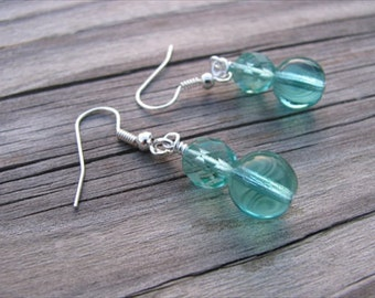 Transparent Turquoise Glass Beaded Earrings