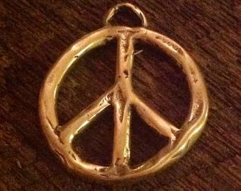 Large Artisan Peace Charm or  Pendant in Golden BRONZE APB75