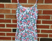Vintage 90s Floral Stretch Body Con Grunge Mini Dress