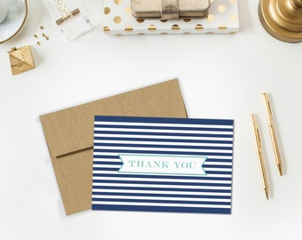 Navy/Mint Stripes Thank You Notes - Set of 6