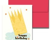 CROWNED KING Retro Birthday Card, 5 per Pack