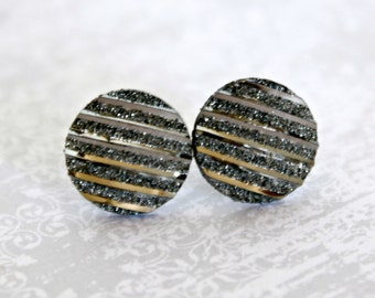 Titanium  Earrings, Gray Metallic Stripe, Hypoallergenic