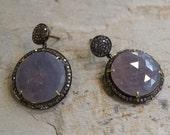 Oxidized Sterling Silver Earring, Grey Sapphire Diamond Earring, Blue Grey Sapphire Jewelry, Large Stone Earring, Halo Set Sapphire.