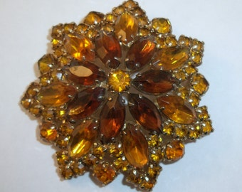 Two tone topaz yellow large rhinestone brooch