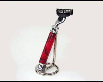 Molten Lava Razor and Stand - Mach 3 style by Gillette - Unique Gift
