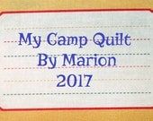 Quilt Label - Red Framed Journal Lines, Custom Made & Hand Embroidered LAST ONE