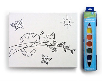 8x10 Large Kitty Cat Paint-Your-Own Watercolor Kit