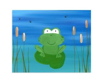 Frog on the Lake with Flies Print ~ Boys Room Frog Nursery Art