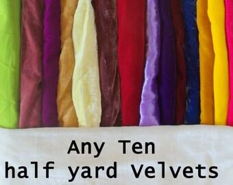 Velvet any ten of half yard each - you pick