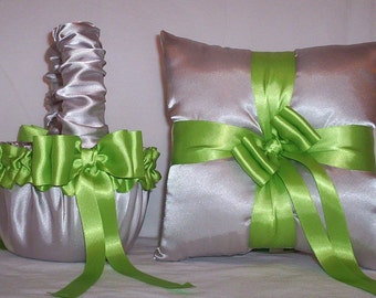 Silver Satin With Green Apple Ribbon Trim Flower Girl Basket And Ring Bearer Pillow