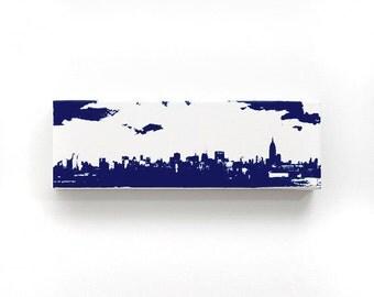New York Skyline Canvas (12 x 4 inches, White w/ Navy Blue) City Skyline Screenprint/Painting Home Decor