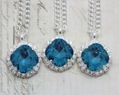 "Teal Wedding Bridesmaid Necklaces Swarovski Crystals 16"" Silver Indicolite"