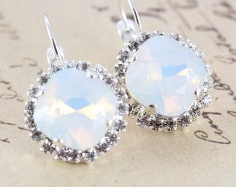 Opal Earrings Swarovski Crystal Earrings Bridal Earrings White Earrings Wedding Silver Rhinestone Earrings Also Avail As Clip On Earrings