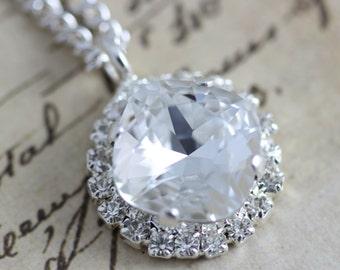 """Bridesmaids Necklace Swarovski Crystal Necklace 16"""" Silver"""
