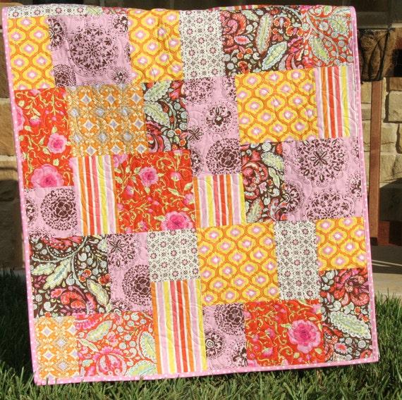 SALE Tangerine Baby Girl Quilt Pretty Little Things Dena Designs Tangerine Orange Brown Pink Nursery Crib Cot Blanket Bedding Personalize