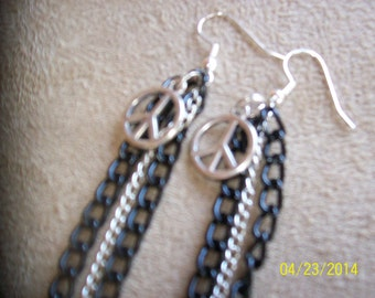 Peace Sign and Chains Earrings