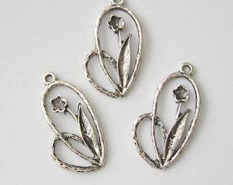 Antiqued Silver  Flower Pendant Charm Dangle.