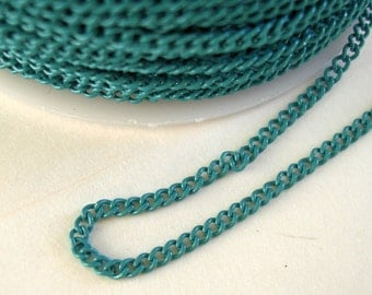 Turquoise Electroplated  Twist  Curbe Chain Colored Chain-15 ft.